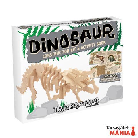 Triceratops Professor Puzzle fa építő szett, közepes