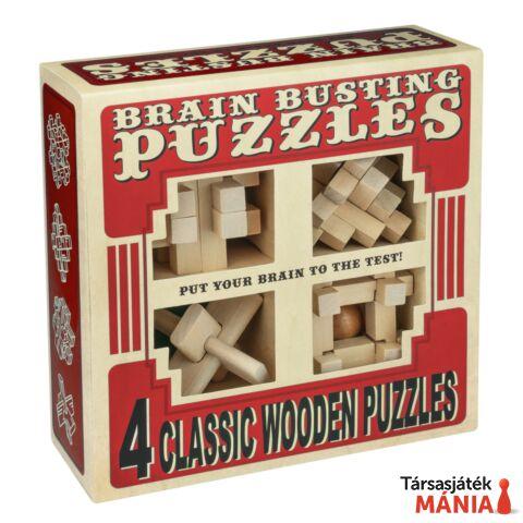 Brainbusting 4db-os Professor Puzzle fa ördöglakat szett